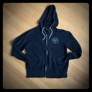 OBEY women's black full zip hooded sweatshirt
